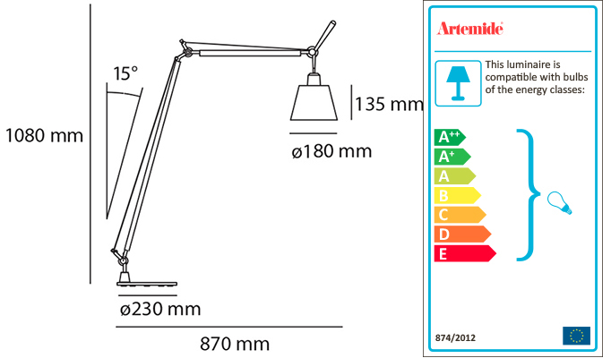 ARTEMIDE TOLOMEO BASCULANTE READING FLOOR