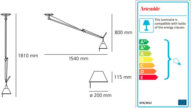 ARTEMIDE TOLOMEO DECENTRATA SUSPENSION diffusore alluminio