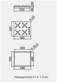 piano cottura 1PF40SLVE misure