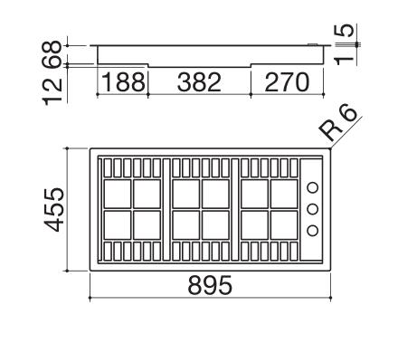 Barazza piano cottura 1PLB2TI misure