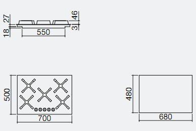 piano cottura 1PI411SLVEC misure