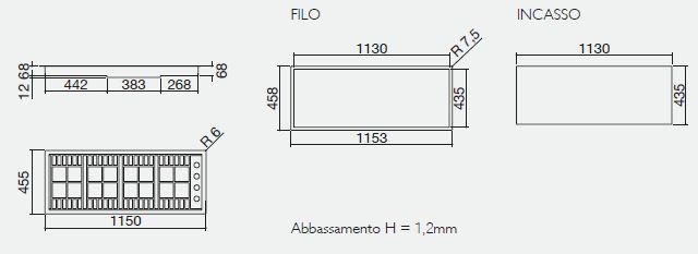 piano cottura 1PLB3T misure