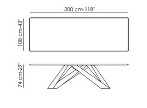 BONALDO BIG TABLE (White 300 cm - crystal top extra-clear white acid ...