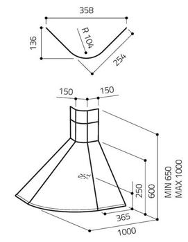 elica hotte d 39 angle rubino corner inox acier inox. Black Bedroom Furniture Sets. Home Design Ideas