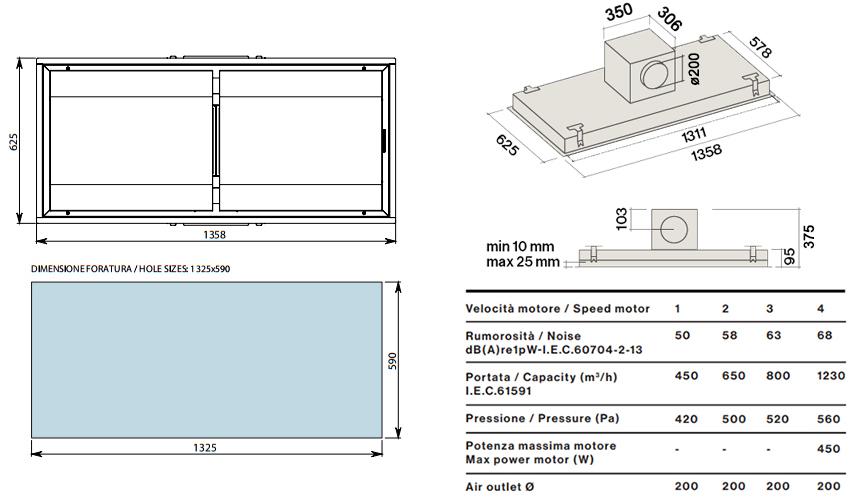 falmec hotte au plafond nuvola 140 cm blanc avec moteur sous combles 1300 m3 h acier et verre. Black Bedroom Furniture Sets. Home Design Ideas