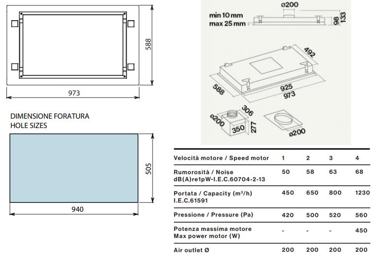 falmec hotte au plafond sirio 90 cm blanc avec moteur sous combles da 1300 m3 h verre tremp. Black Bedroom Furniture Sets. Home Design Ideas
