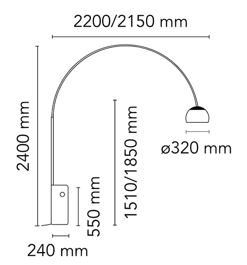 Flos Arco lampada da terra dimensioni