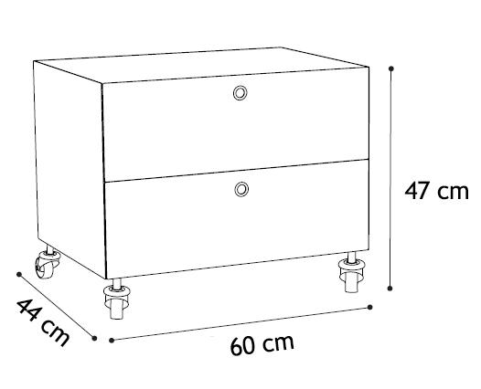 kriptonite container commode sur roues aux 2 tiroirs l 60. Black Bedroom Furniture Sets. Home Design Ideas