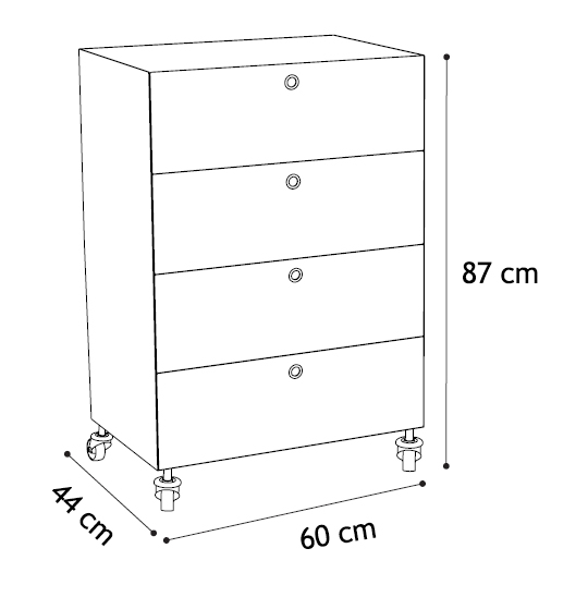 kriptonite container commode sur roues aux 4 tiroirs l 60. Black Bedroom Furniture Sets. Home Design Ideas