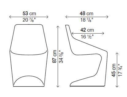 Kristalia set da 4 sedie pulp for Sedia misure
