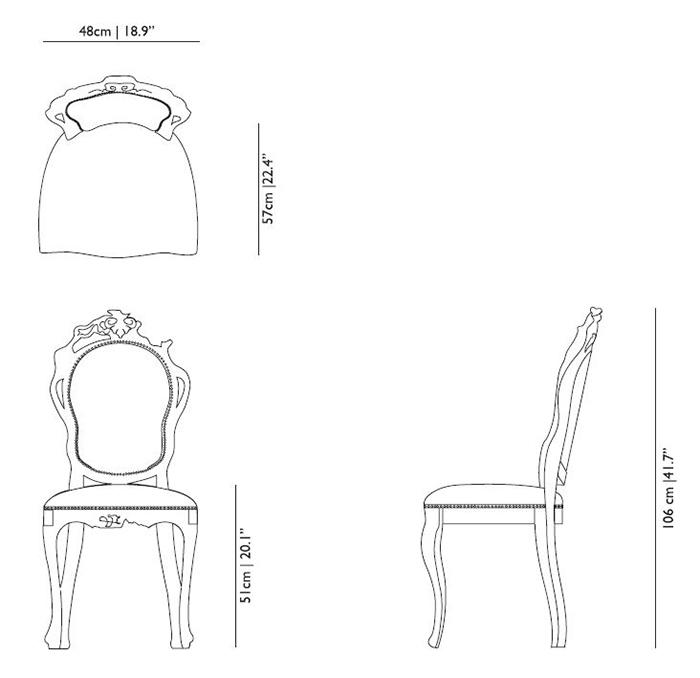 Moooi smoke dining  chair misure