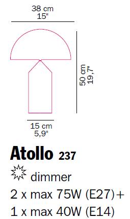 oluce misure atollo