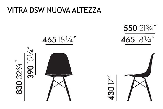 Vitra sedia eames plastic side chair dsw nuove dimensioni for Sedia misure