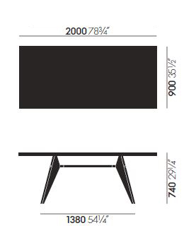 vitra em table sizes