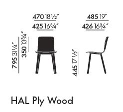 vitra hal ply wood sizes
