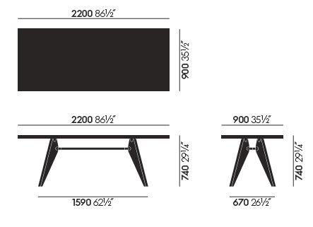 vitra table solvay sizes