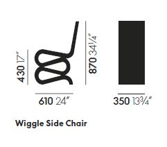 vitra wiggle side chair sizes