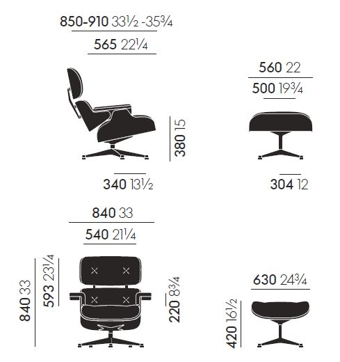 vitra longue chair misure