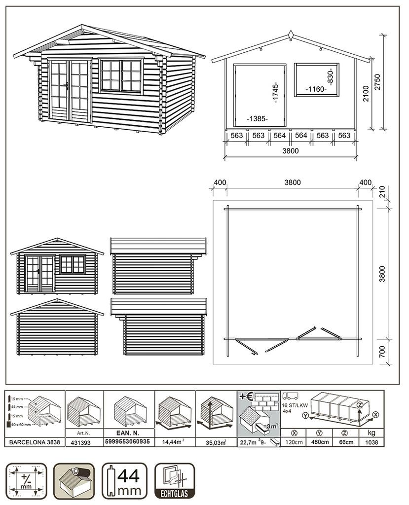 Casetta in legno barcelona gartenpro casa serratura for Serratura porta scorrevole barca