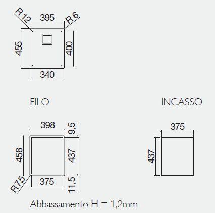 vasca quadra 1QR3440IQ misure