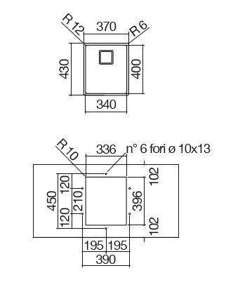 vasca quadra 1QR3440SQ misure