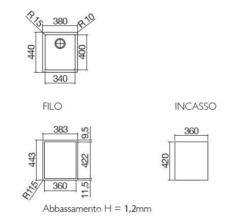 barazza lavello 1X3440I misure