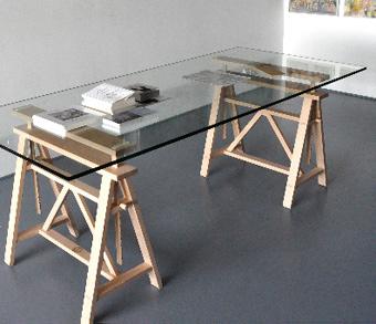 Magis teatro tavolo 200x90 cm in massello di faggio e - Cavalletti per tavolo ...
