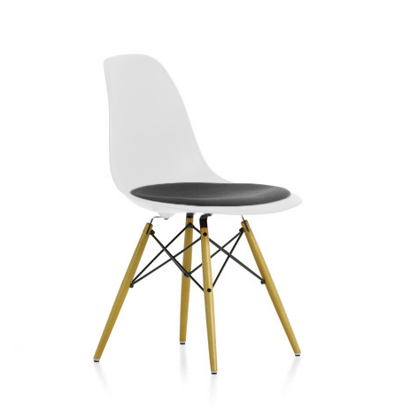 vitra sedia eames plastic side chair dsw con cuscino design by c r eames ebay. Black Bedroom Furniture Sets. Home Design Ideas